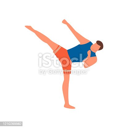 Young man do sport karate with high leg kick in red shorts. Flat style. Vector illustration on white background