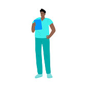 Hand drawn young man doctor in uniform reading medical test result during pandemic over white background vector illustration. Working during coronavirus epidemic concept