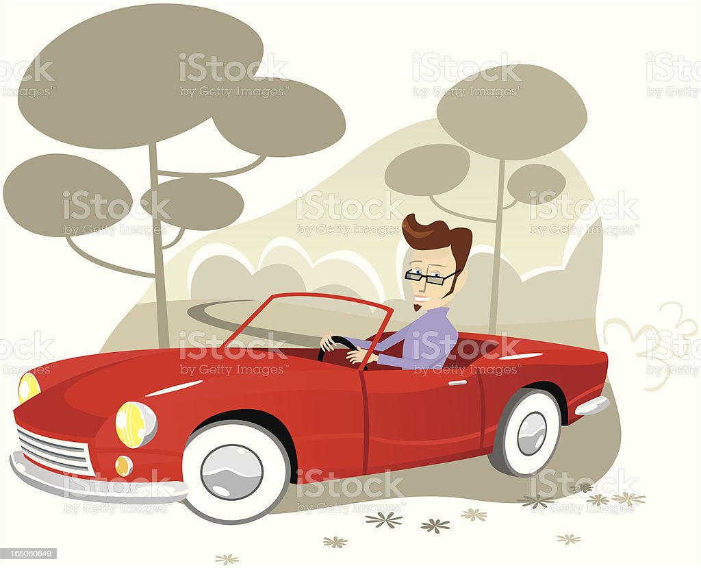 Young man driving his red convertible sportscar vector art illustration