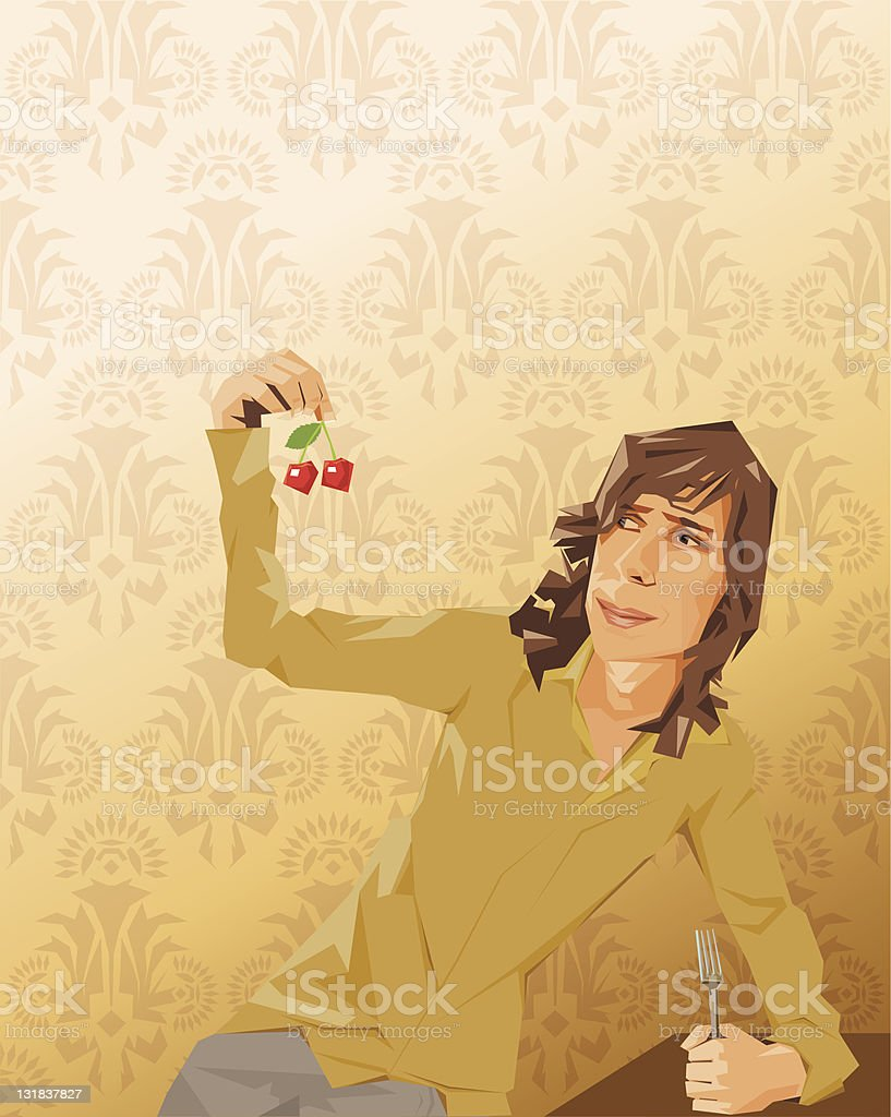 Young man eating cherries vector art illustration