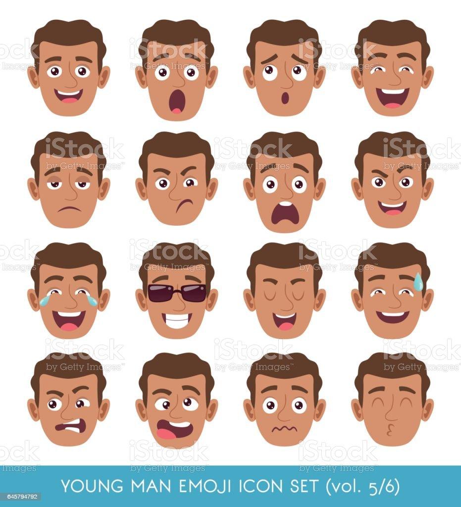 Jovem conjunto de ícones emoji - ilustração de arte em vetor