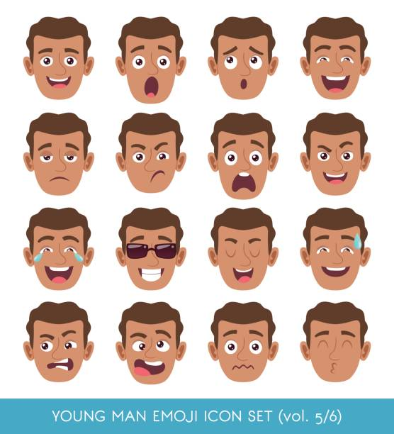 Young man emoji icon set vector art illustration