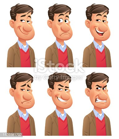 Vector illustration of a young man with six different facial expressions: smiling, stunned/surprised, laughing, sad, mean/ smirking and furious. Portraits perfectly match each other and can be easily used for facial animation by simply putting them in layers on top of each other.