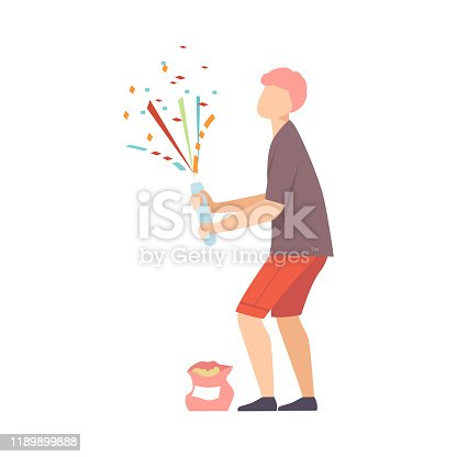 Young ginger man on the party explodes te firecracker with confetti. Vector illustration, cartoon character, isolated, white background.