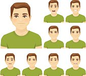 Young man expression set