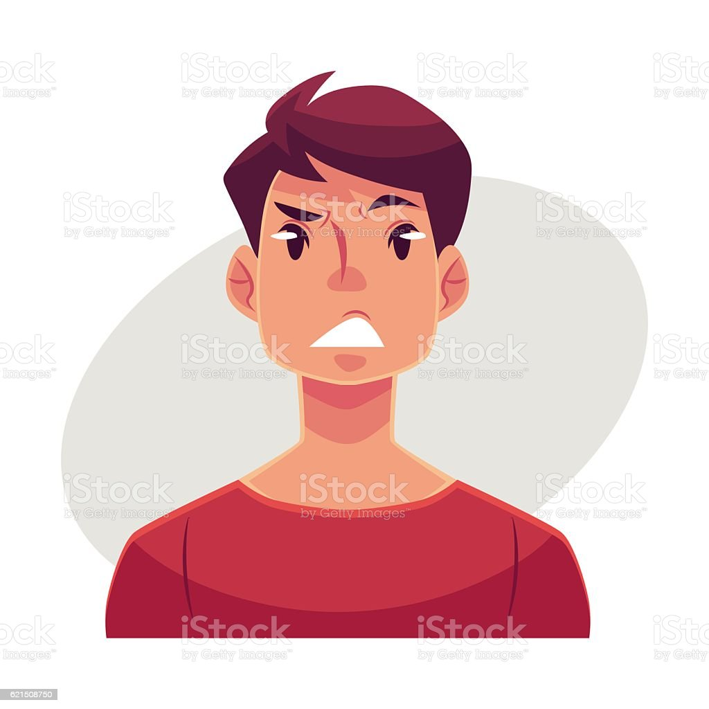 Young man face, upset, confused facial expression Lizenzfreies young man face upset confused facial expression stock vektor art und mehr bilder von angst