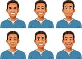 Vector illustration of a young man with six different facial expressions: laughing, smiling, angry, sceptic/puzzled, anxious and neutral.