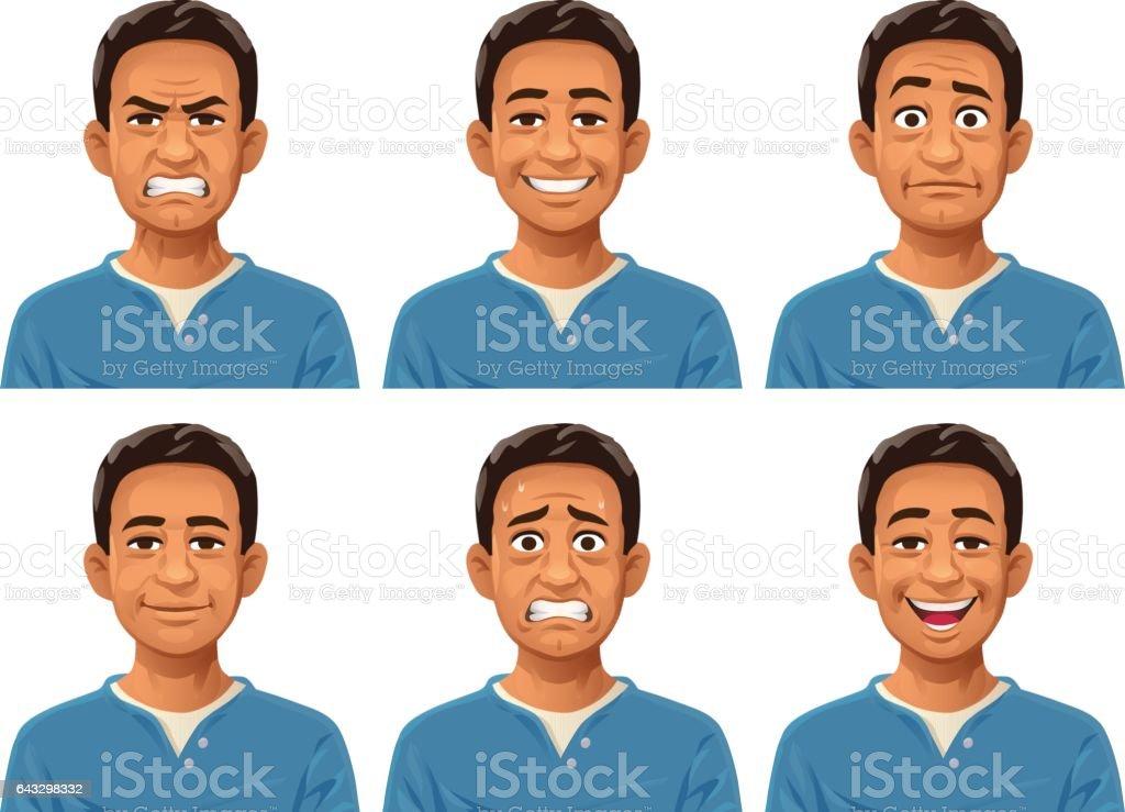 Young Man Facial Expressions vector art illustration