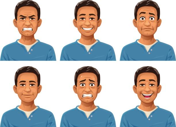 Young Man Facial Expressions Vector illustration of a young man with six different facial expressions: laughing, smiling, angry, sceptic/puzzled, anxious and neutral. looking at camera stock illustrations