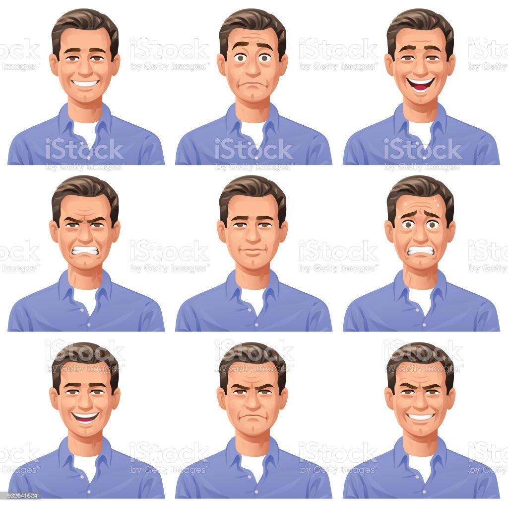 Young Man- Facial Expressions vector art illustration