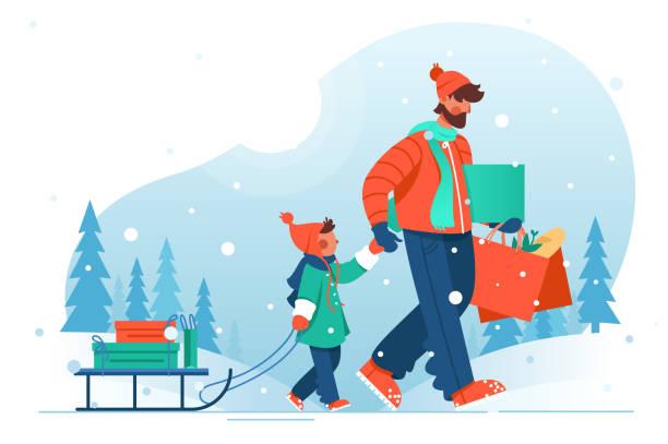 stockillustraties, clipart, cartoons en iconen met vader van de jonge man met baard gaat met zijn zoon met slee met winkelen. - family winter holiday