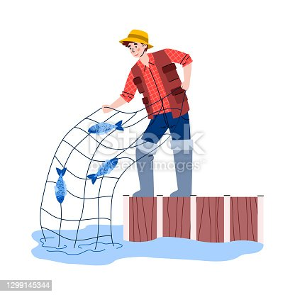 Young man fishing with net, flat cartoon vector illustration isolated on white.