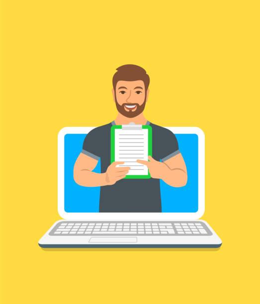 ilustrações, clipart, desenhos animados e ícones de jovem conceito on-line de instrutor de fitness - personal trainer