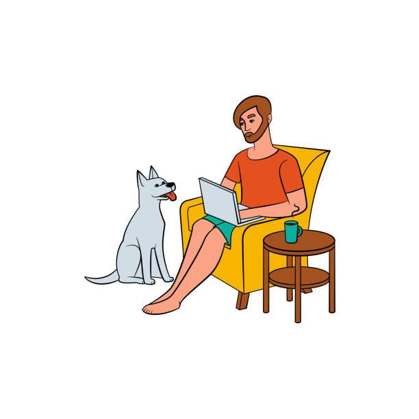 junger mann, freiberufler, arbeiten von zu hause und hund - arbeitshunde stock-grafiken, -clipart, -cartoons und -symbole