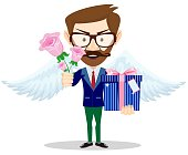 Young man give rose and gift, present to lover, hipster in love. Stock flat vector illustration.