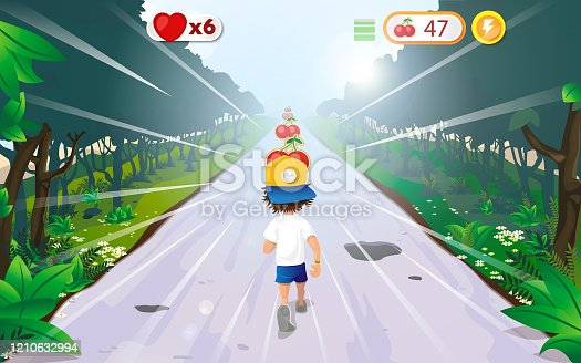 istock Young man grabbing prices while running - Video game illustration 1210632994