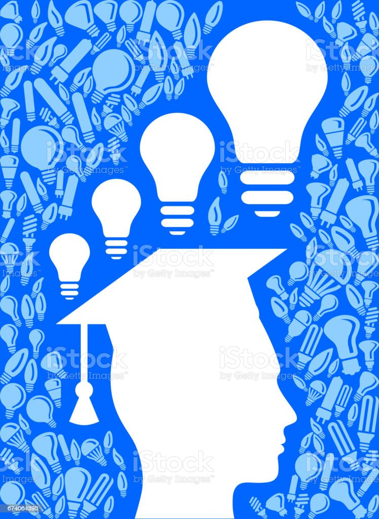 Young Man Graduate Light Bulb Blue Vector Background Pattern royalty-free young man graduate light bulb blue vector background pattern stock vector art & more images of adult