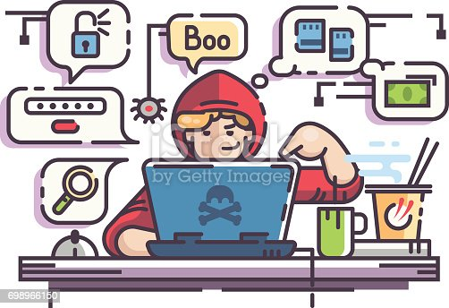 istock Young man hacker with laptop 698966150