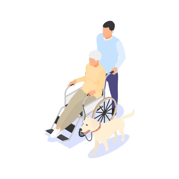 若い男性は、高齢の女性が犬と一緒に車椅子で旅行するのを助けます。ボランティアコンセプト、社会援助、高齢者ケア。 - 介護点のイラスト素材/クリップアート素材/マンガ素材/アイコン素材