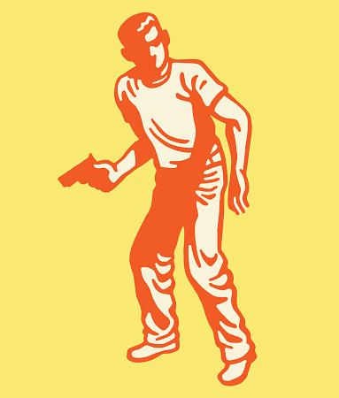 Young Man Holding a Handgun