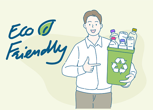 Young man holding a recycling bin full of plastic bottles. Sustainability concept. Hand drawn in thin line style, vector illustrations.