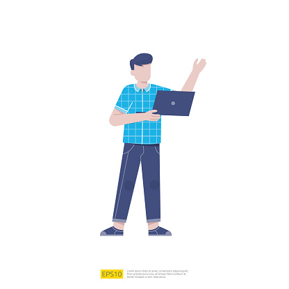 young man holding laptop computer. Businessman standing at full height holding opened laptop in his hands. Vector cartoon illustration isolated on white background.