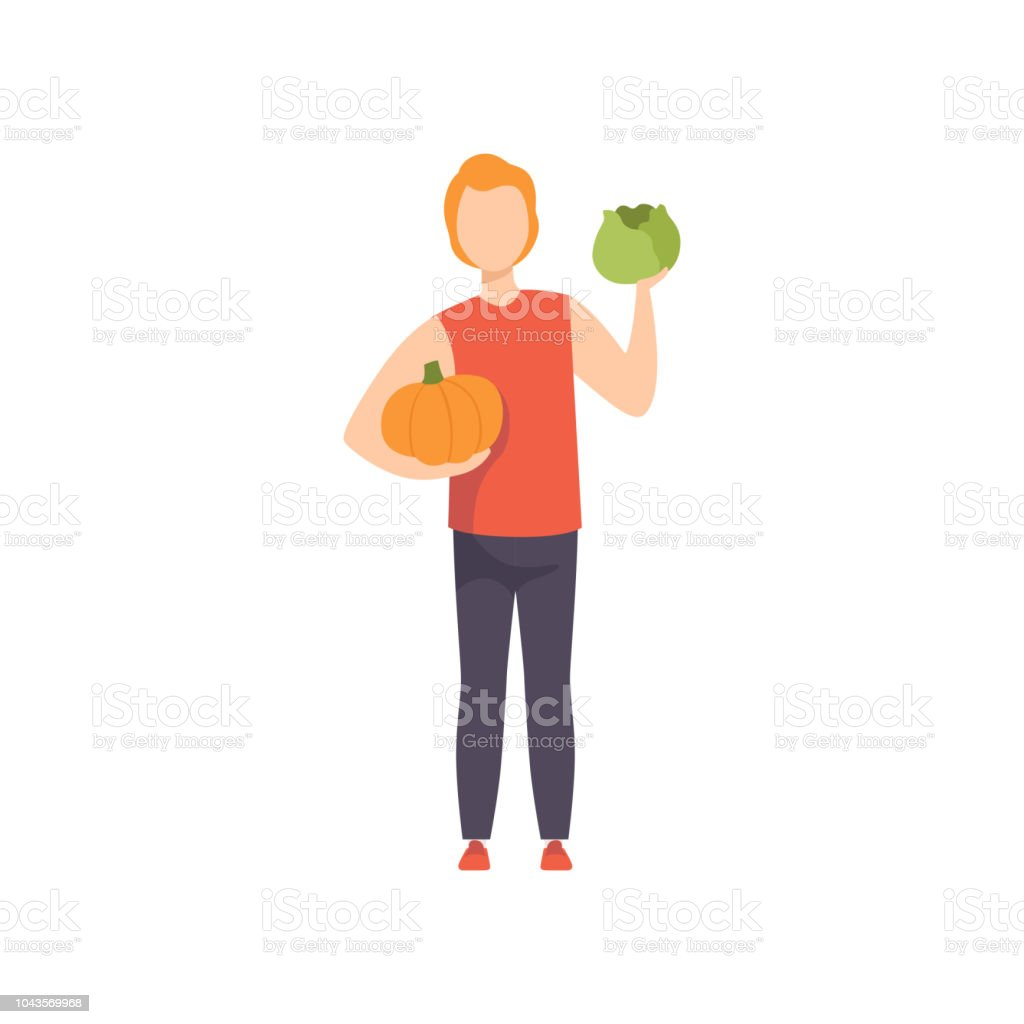 Young man holding pumpkin and cabbage, guy doing shopping at the grocery shop vector Illustration on a white background vector art illustration