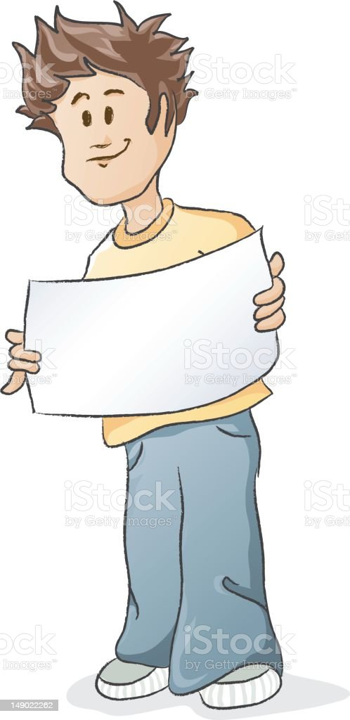 Young man holding up blank sign royalty-free stock vector art
