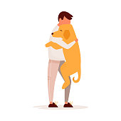 Young man hugging his dog. Pet love concept. Flat vector colorful illustration