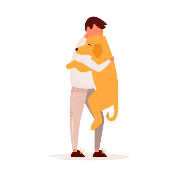 stockillustraties, clipart, cartoons en iconen met jonge man knuffelen zijn hond. pet liefde concept. platte vector kleurrijke illustratie - adoptie