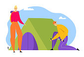 Young Man Hummer Sticks to Ground to Set Up Tent for Spending Time at Summer Camp. Woman with Backpack, Tourists Spend Summertime Vacation, Hiking Hobby, Activity Cartoon Flat Vector Illustration