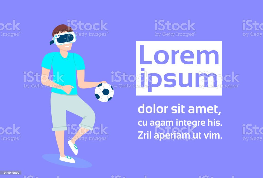 Young Man In 3d Virtual Reality Glasses Play Football Over