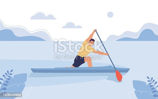 Young man in a boat floating on the river, the concept of rowing competitions, canoeing.