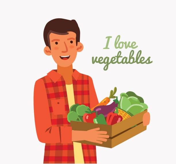 Young man in a garden with a wooden crate full of fresh vegetables: cabbage, pepper, tomato, carrot, corn, broccoli and eggplant in cartoon style Young man in a garden with a wooden crate full of fresh vegetables: cabbage, pepper, tomato, carrot, corn, broccoli and eggplant in cartoon style migratory workers stock illustrations
