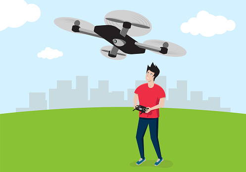 A young man in a red T-shirt controls a quadrocopter or drone. Vector illustration.