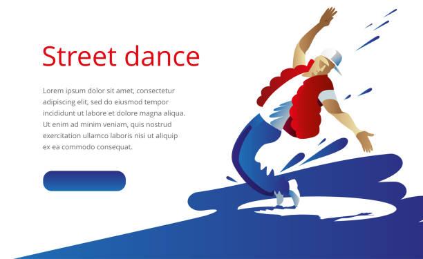 bildbanksillustrationer, clip art samt tecknat material och ikoner med en ung man i en röd väst och jeans dansar en uttrycksfull gatudans - street dance