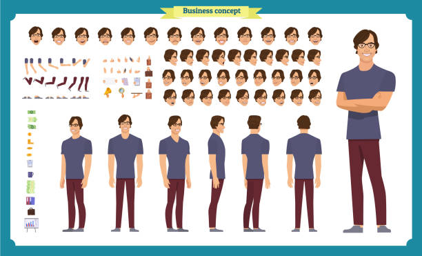 Young man in casual clothes. Character creation set. Full length, different views, emotions, gestures, isolated against white background. Build your own design. Young man in casual clothes. Character creation set. Full length, different views, emotions, gestures, isolated against white background. Build your own design. Cartoon flat-style vector illustration isolated color stock illustrations