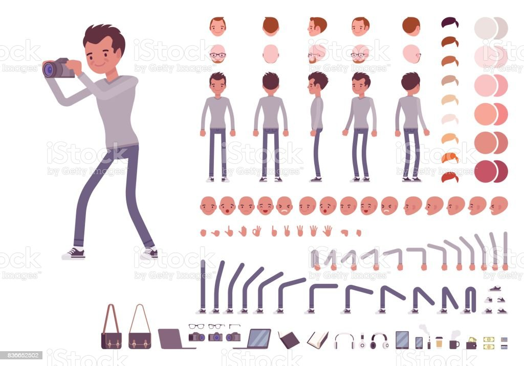 Young man in casual clothes. Character creation set vector art illustration