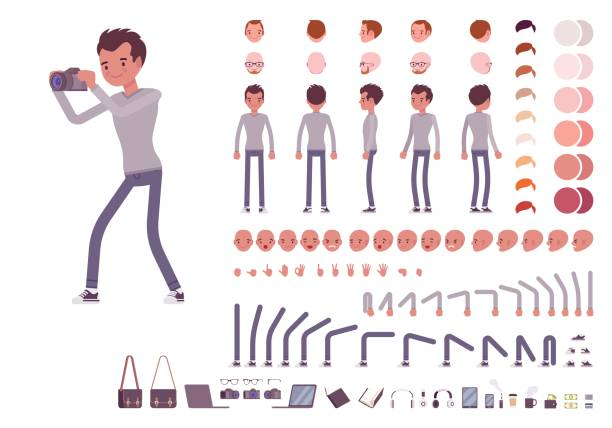 Young man in casual clothes. Character creation set Young man in casual clothes. Character creation set. Full length, different views, emotions, gestures, isolated against white background. Build your own design. Cartoon flat-style vector illustration skinny pants stock illustrations