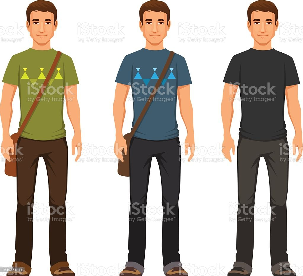 young man in casual clothes vector art illustration
