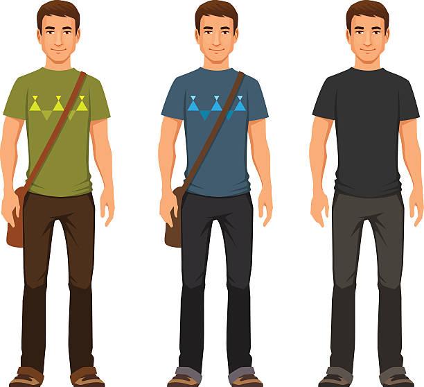 bildbanksillustrationer, clip art samt tecknat material och ikoner med young man in casual clothes - fritidskläder