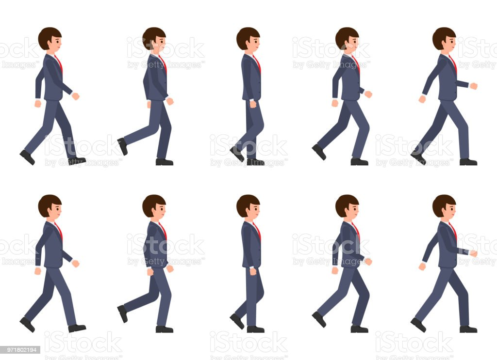 Young man in dark blue suit walking sequence. Vector illustration of moving cartoon character person vector art illustration
