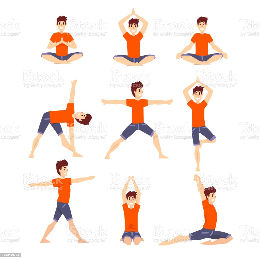 Young Man In Different Asanas Poses Set Man Doing Yoga Exercises Vector Illustrations On A White Background Stock Illustration Download Image Now Istock