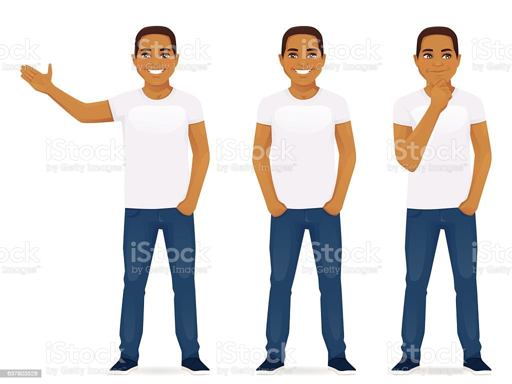 Young man in jeans vector art illustration