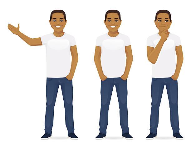 ilustrações de stock, clip art, desenhos animados e ícones de jovem em jeans - homem casual standing sorrir