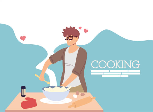 young man in love cook preparing a cake - busy restaurant kitchen stock illustrations