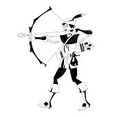 Young man in medieval costume, shooting a bow and arrow. Robin Hood. Black and white. Vector illustration.