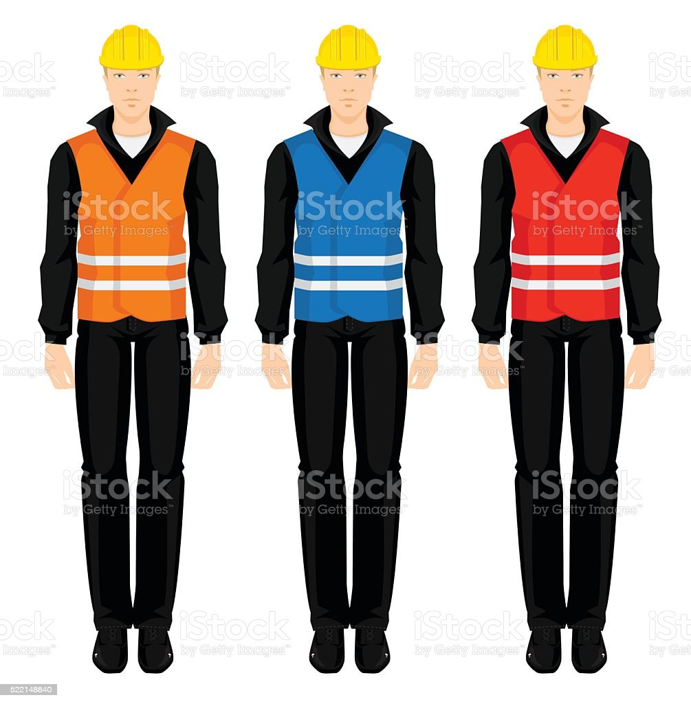 Young man in protective vest vector art illustration