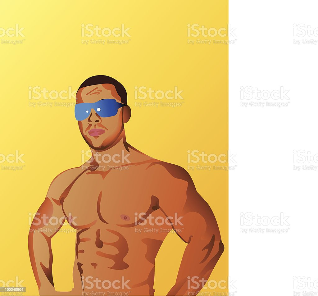 Young man in shape vector art illustration