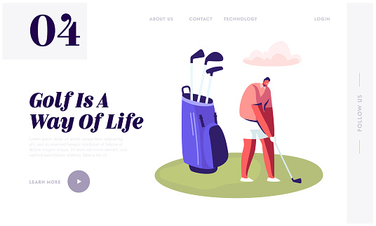 Young Man in Sport Uniform Holding Golf Club in Hands on Playing Course with Green Grass, Website Landing Page, Summer Time Leisure, Sport Training. Web Page. Cartoon Flat Vector Illustration, Banner